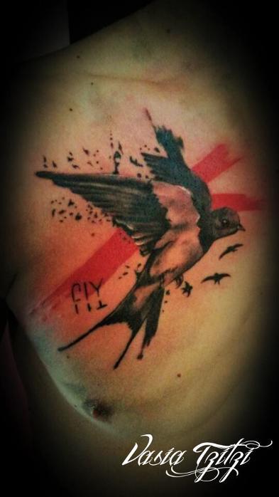 shallow bird trash polka tattoo