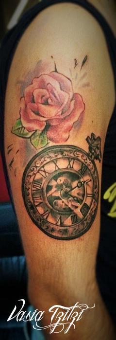 #clock@rose@tattoo