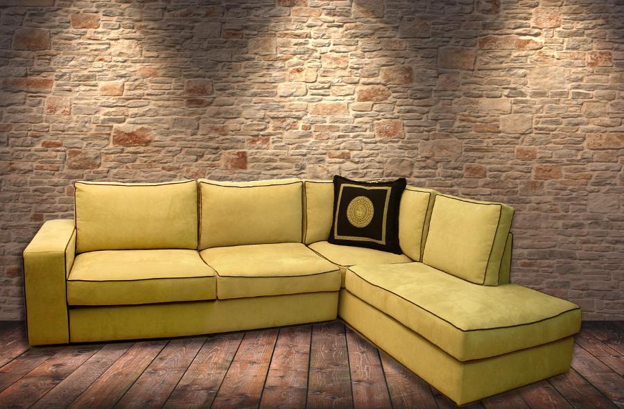 Σαλόνι γωνιακός καναπές κίτρινος
