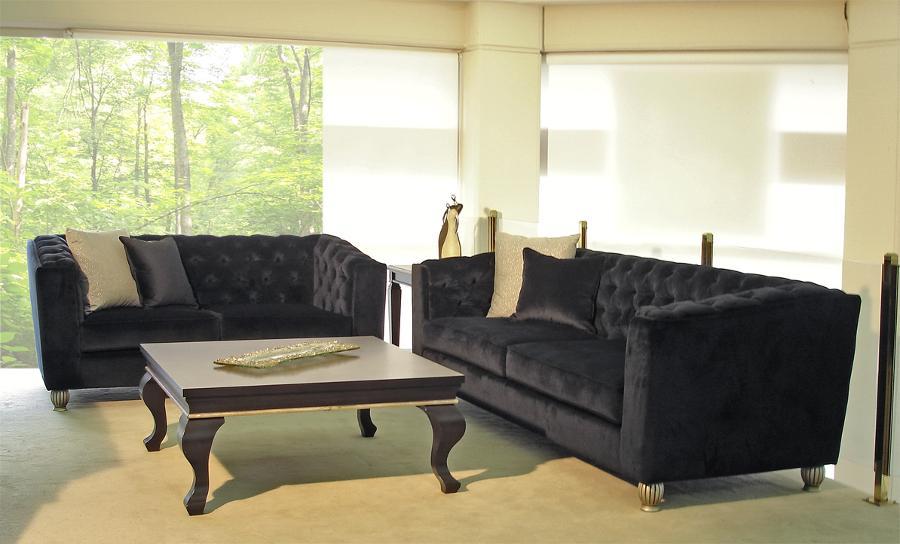 Σαλόνι μαύρο διθέσιος και τριθέσιος καναπές