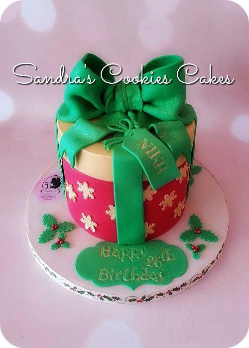 Christmas present box cake Τούρτα ζαχαρόπαστα