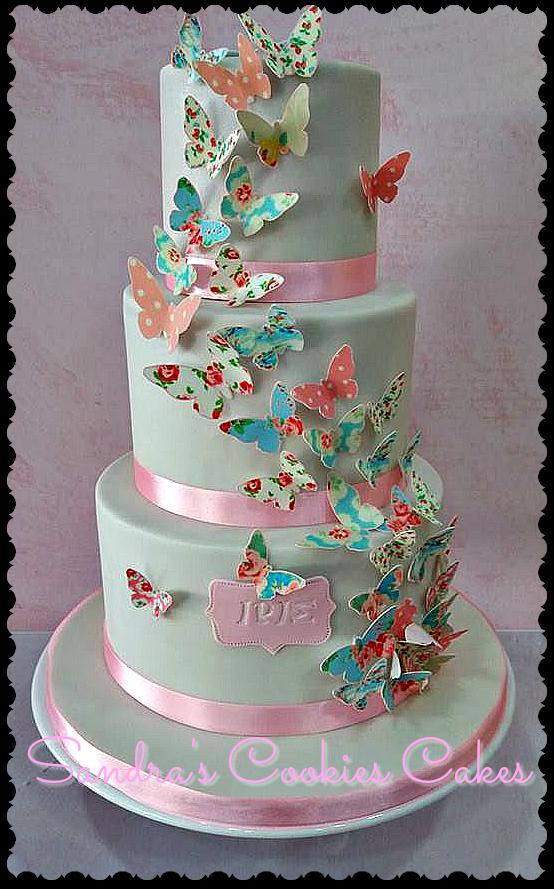 Shabby chic cake Τούρτα ζαχαρόπαστα