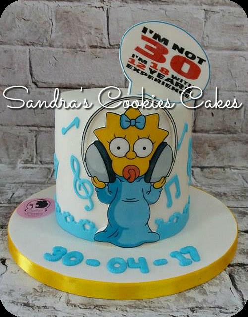 Maggie Simpson cake   Τούρτα ζαχαρόπαστα