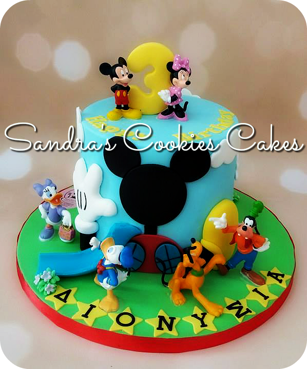 Mickey mouse club cake   Τούρτα ζαχαρόπαστα