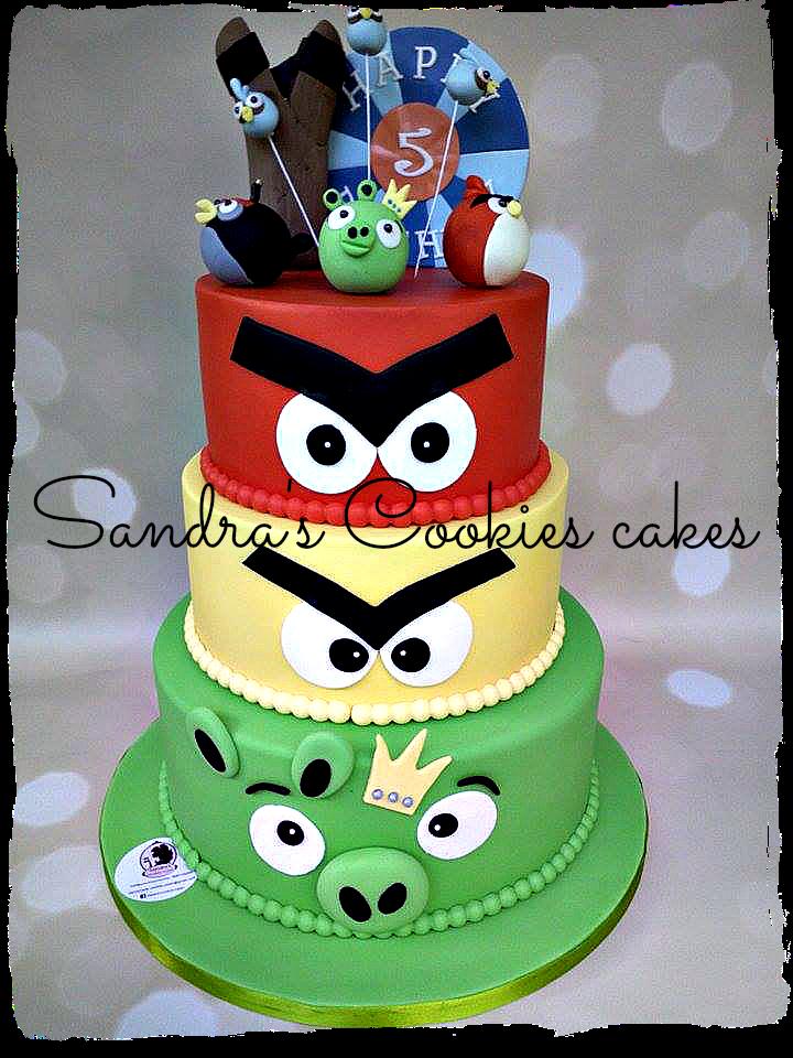 Angry birds cake   Τούρτα ζαχαρόπαστα