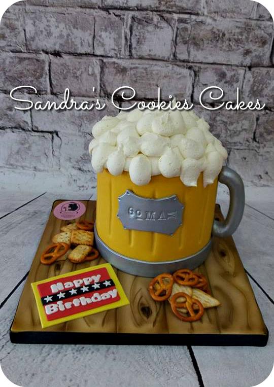 Beer mug cake   Τούρτα ζαχαρόπαστα