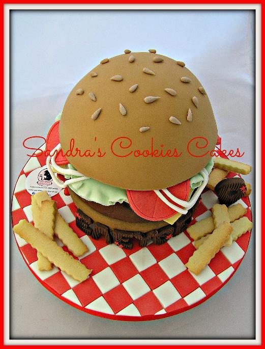 Burger cake    Τούρτα ζαχαρόπαστα