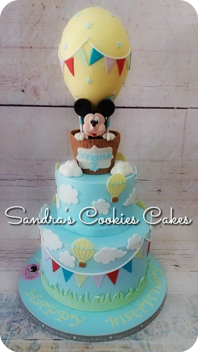 Mickey mouse hot air balloon cake  Τούρτα ζαχαρόπαστα