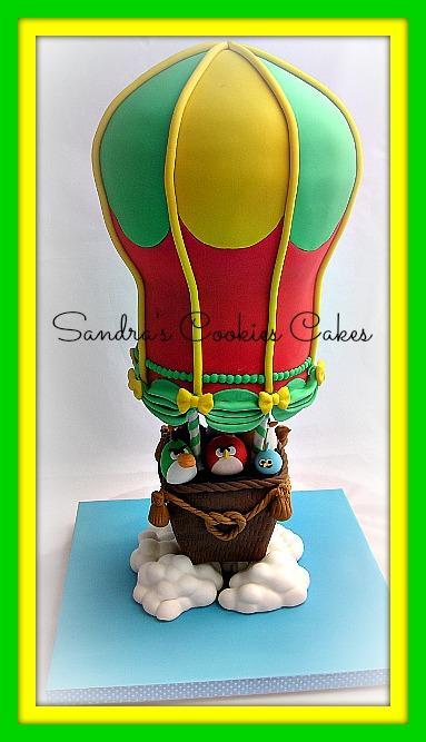 Angry birds hot air balloon cake  Τούρτα ζαχαρόπαστα