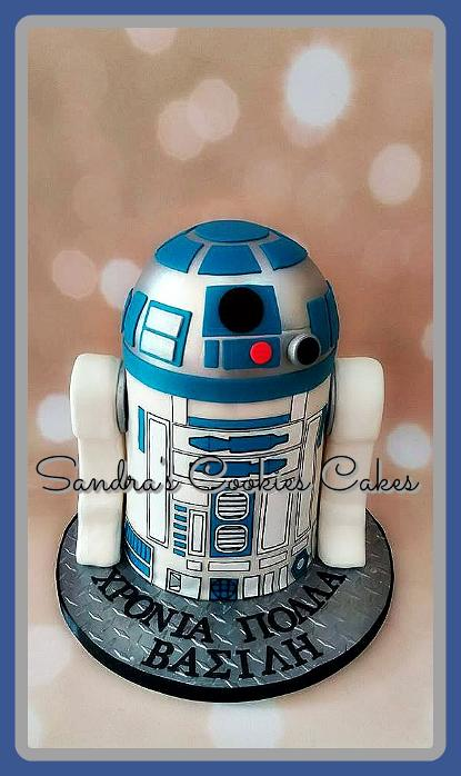 R2D2 cake  Τούρτα ζαχαρόπαστα