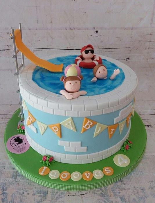 Swimming pool cake  Τούρτα ζαχαρόπαστα