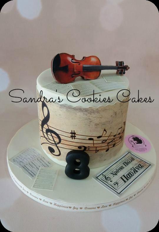 Violin cake  Τούρτα ζαχαρόπαστα