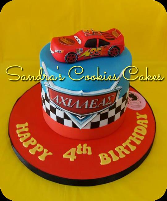 Mcqueen - Cars cake  Τούρτα ζαχαρόπαστα