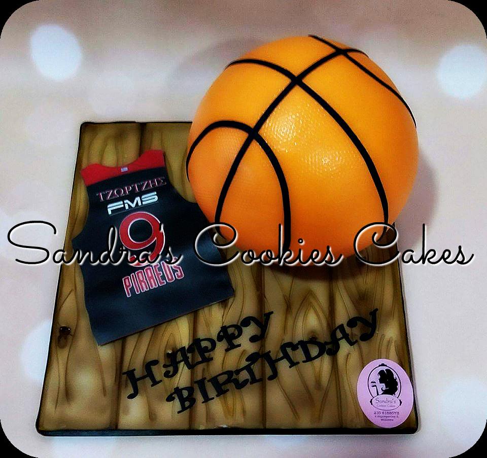 Basketball cake  Τούρτα ζαχαρόπαστα
