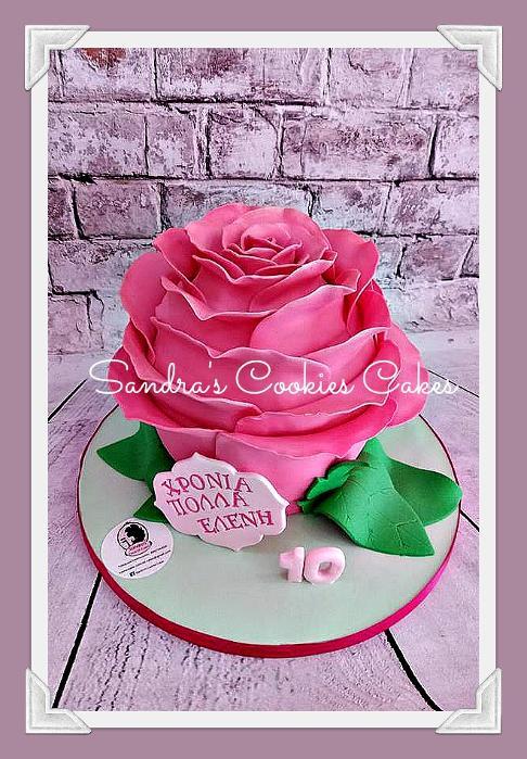 Pink rose cake  Τούρτα ζαχαρόπασστα
