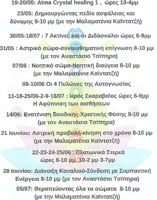 Ημερολόγιο Σεμιναρίων, Ενεργειακές Θεραπείες Βόρεια Προάστια