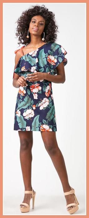 Φόρεμα κοντό, δετό στον ώμο με βολάν,  code 55296, price 17,99€, Sizes S,M,L
