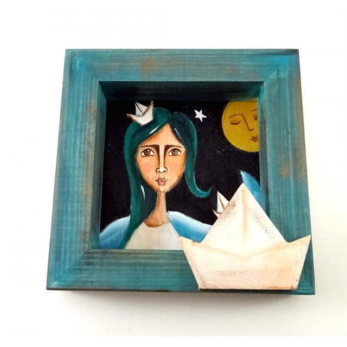 Χειροποίητος πίνακας Ζωγραφικής, Νεράιδα του πελάγους, Δραπετσώνα Κερατσίνι, Είδη δώρων