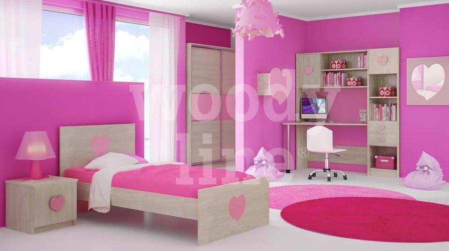 Woodyline παιδικό εφηβικό δωμάτιο καρδιά