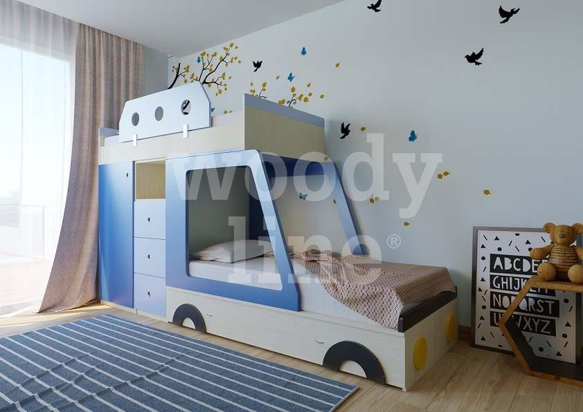Woodyline παιδικό εφηβικό δωμάτιο κουκέτα αμάξι
