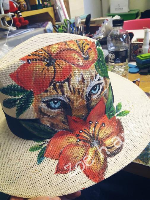 Χειροποιήτο ζωγραφιστό καπέλο, ψάθινο καπέλο , καλοκαίρι Δραπετσώνα