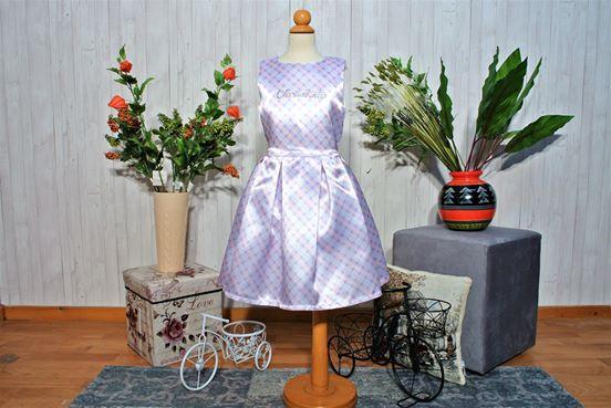 Φόρεμα καρό με πιέτες